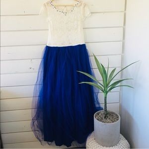 -Custom Made-White Lace & Navy Tulle Prom D…